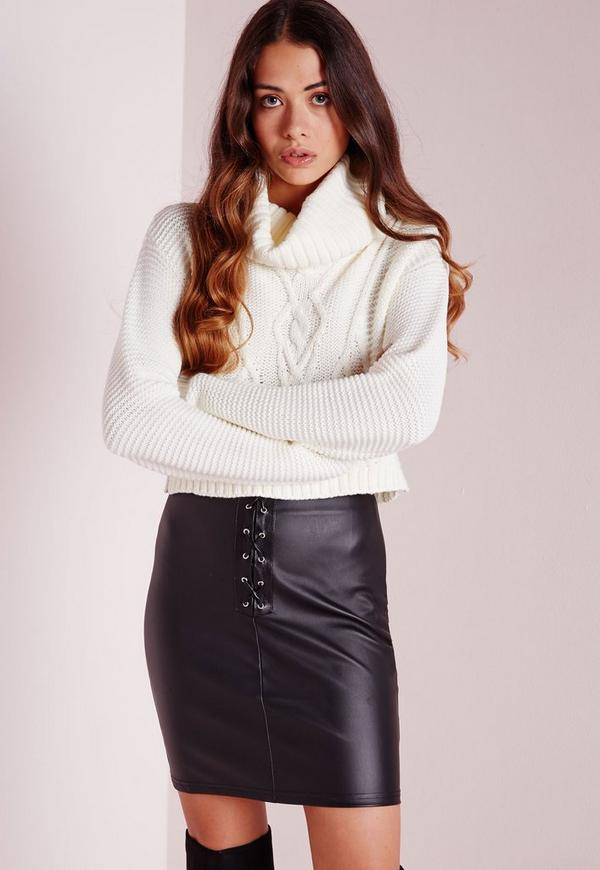 Lace Up Faux Leather Mini Skirt Black