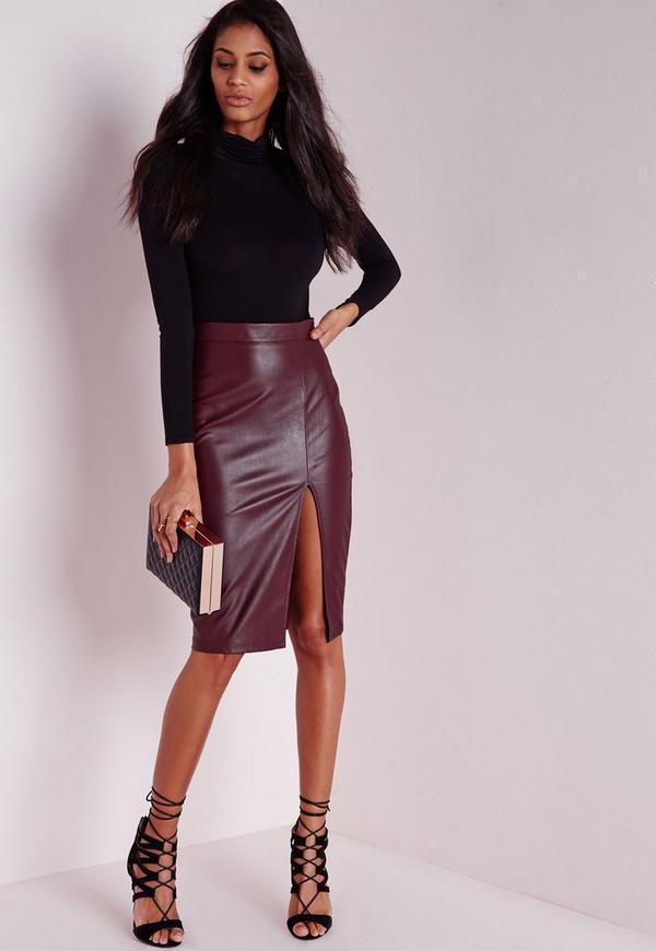 Faux Leather Split Midi Skirt Burgundy