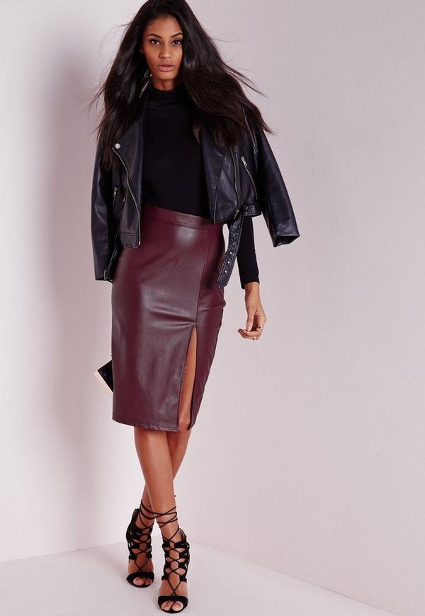 Faux Leather Split Midi Skirt Burgundy - Midi - Skirts - Missguided