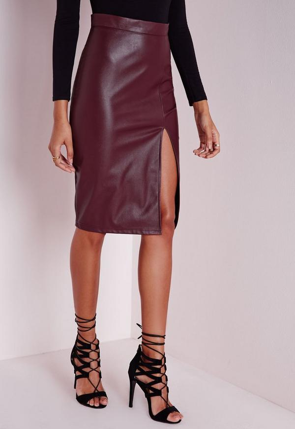 faux leather split midi skirt burgundy missguided