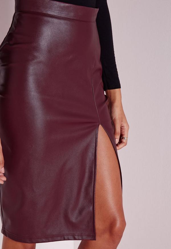 faux leather split midi skirt burgundy missguided