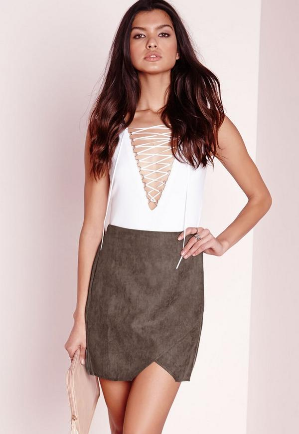 Peached wrap mini skirt Khaki