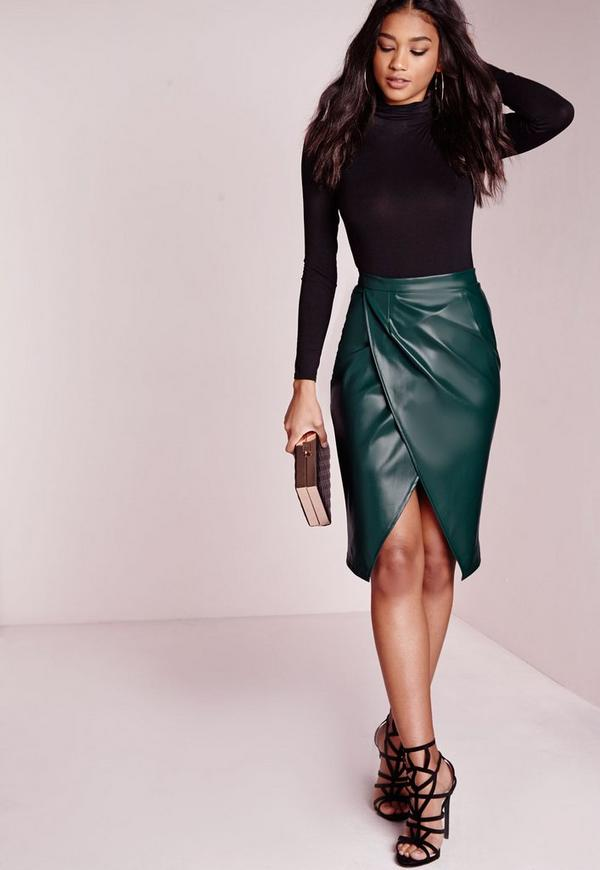 Faux Leather Wrap Midi Skirt Teal