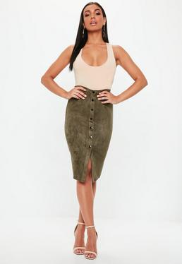 Khaki Button Through Faux Suede Midi Skirt