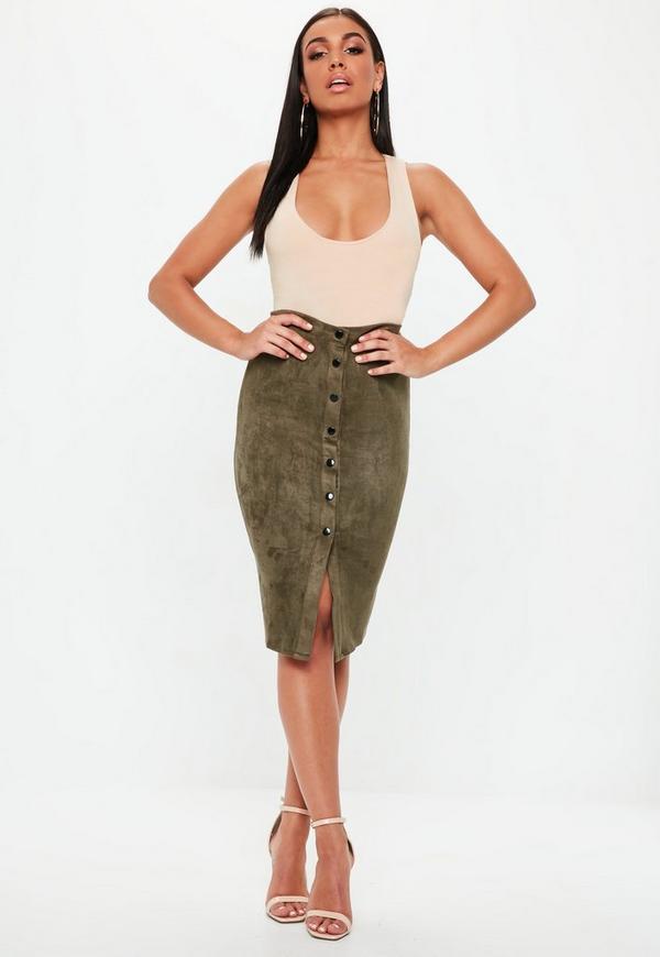Khaki Button Through Faux Suede Midi Skirt
