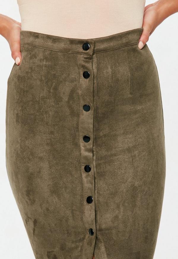 Button Through Faux Suede Midi Skirt Khaki - Skirts - Midi Skirts ...