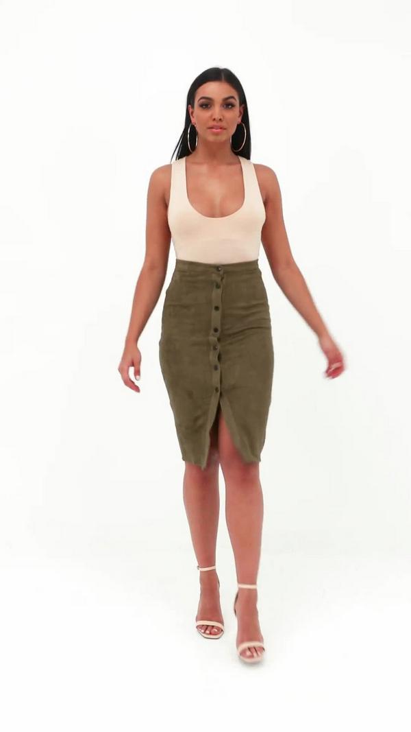 khaki button through faux suede midi skirt missguided