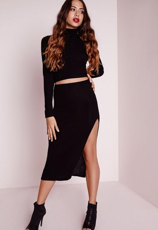 Longline Ribbed Split Side Midi Skirt Black