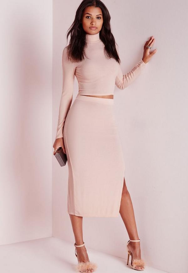 Longline Ribbed Split Side Midi Skirt Nude