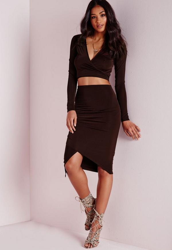 Wrap Ruched Slinky Midi Skirt Chocolate
