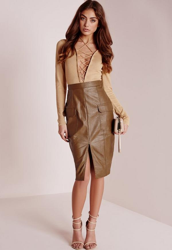Faux Leather Pocket Pencil Skirt Tan