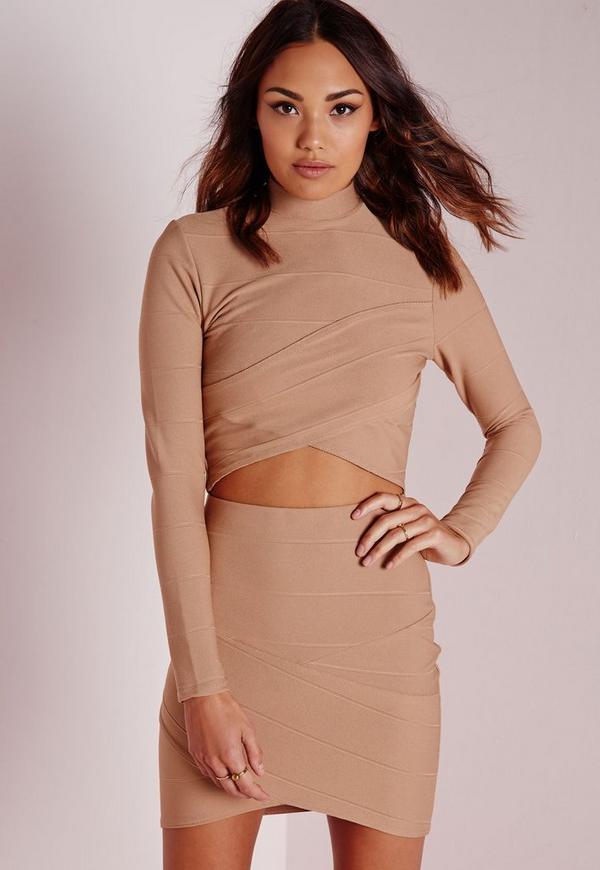 Bandage Asymmetric Hem Mini Skirt Camel