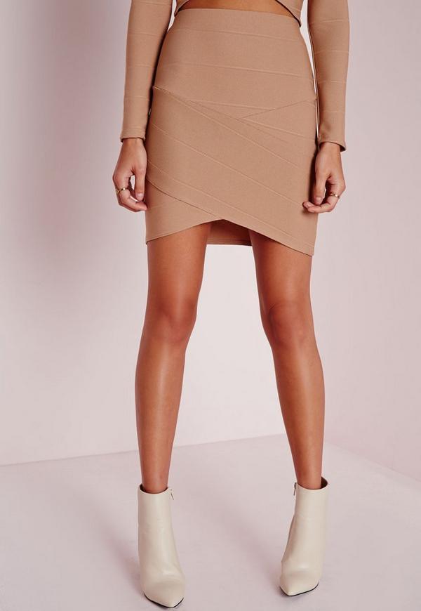 Bandage Asymmetric Hem Mini Skirt Camel - Mini - Skirts - Missguided
