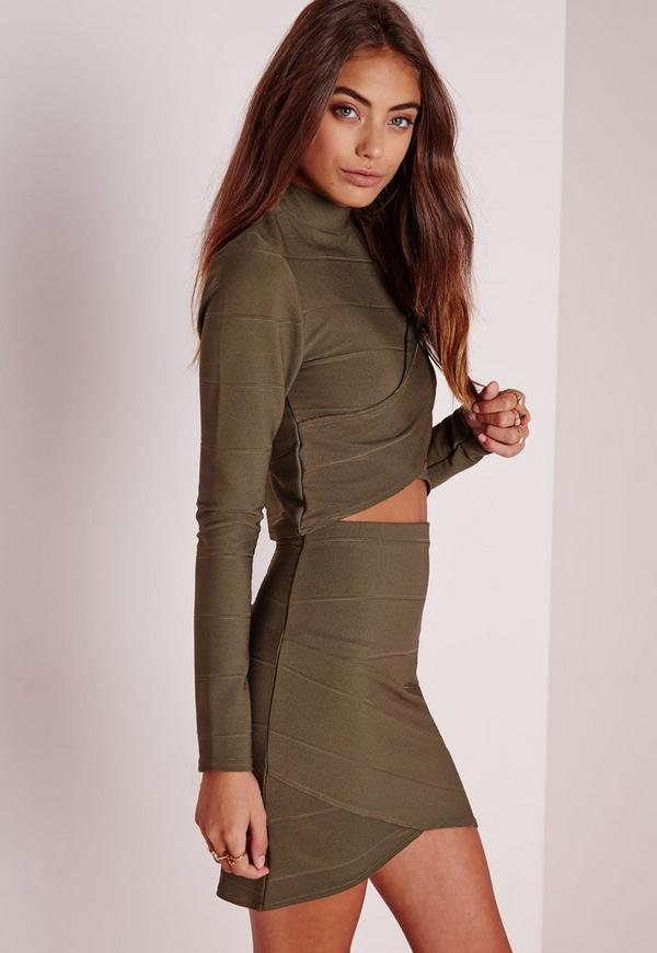 Bandage Asymmetric Hem Mini Skirt Khaki