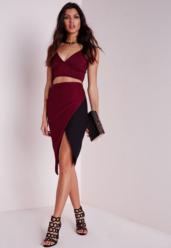 Contrast Wrap Midi Skirt Burgundy/Black