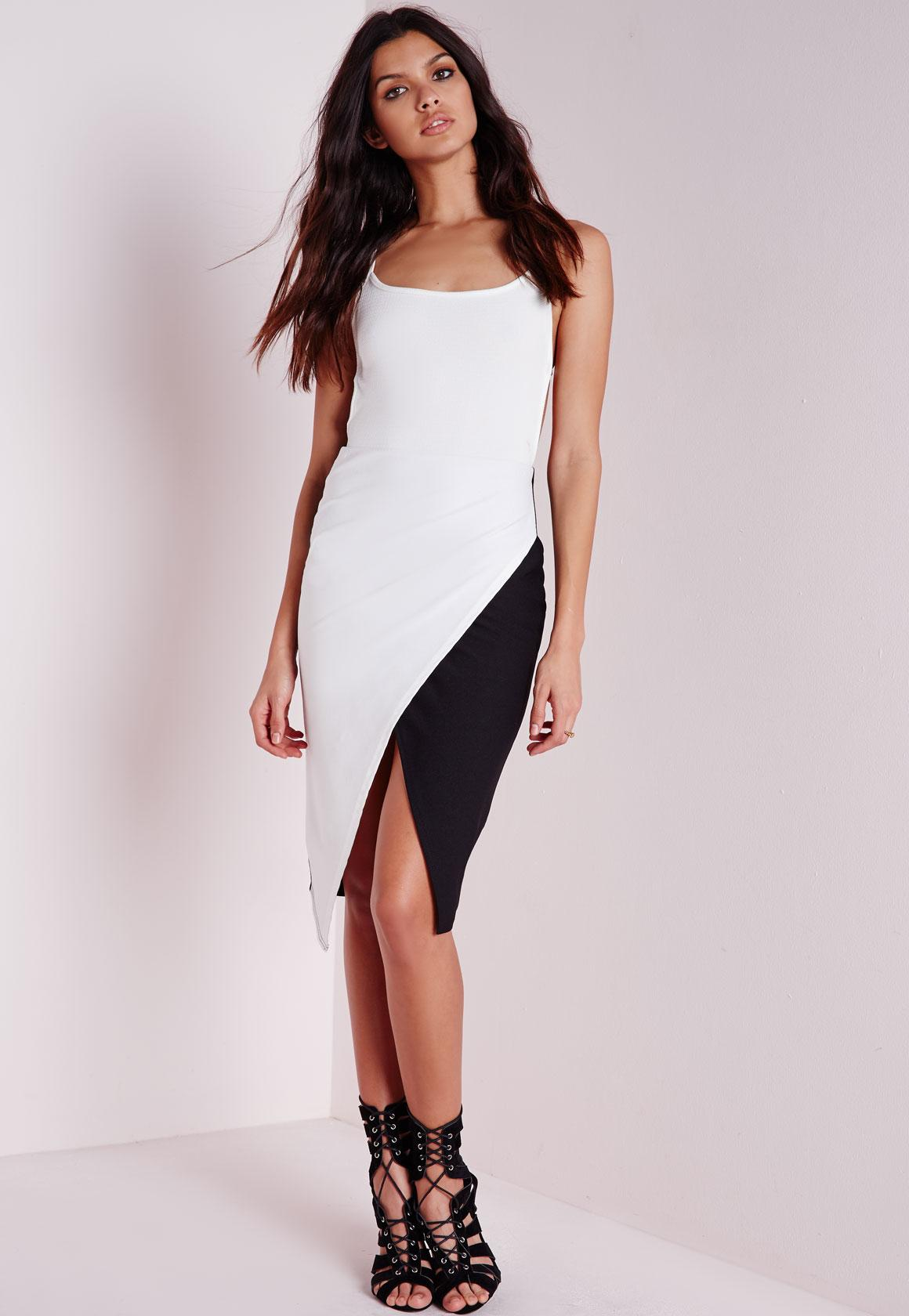 Contrast Wrap Midi Skirt Black/White - Contrast - Skirts - Missguided