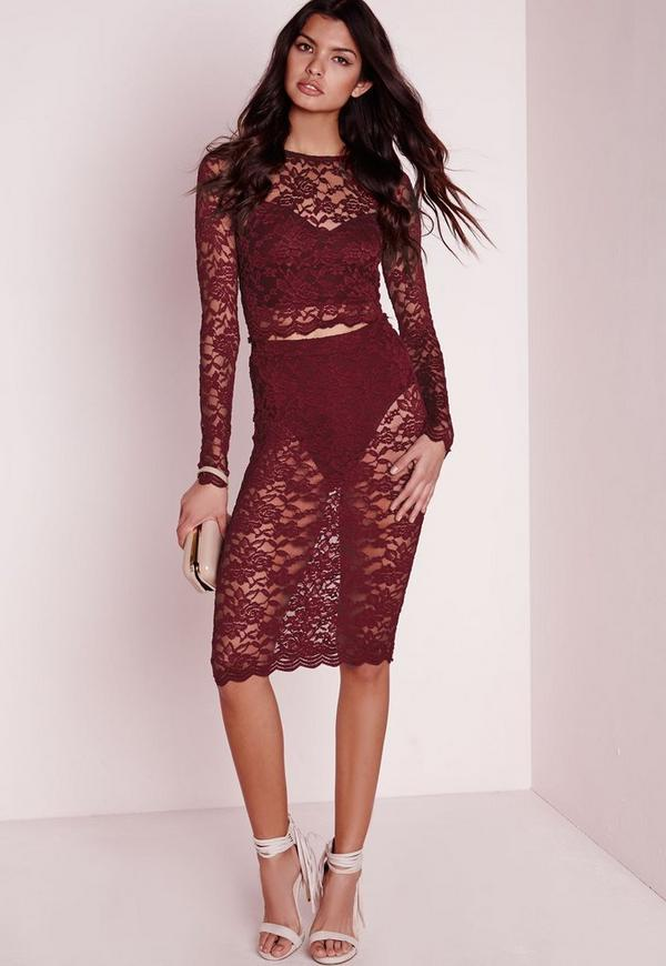 Lace Midi Skirt Burgundy
