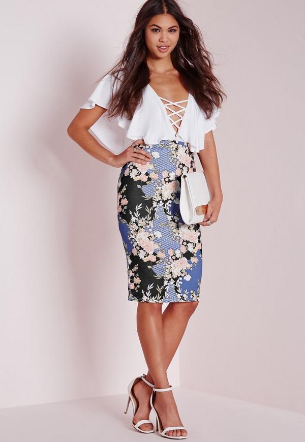 Floral Print Midi Skirt Black