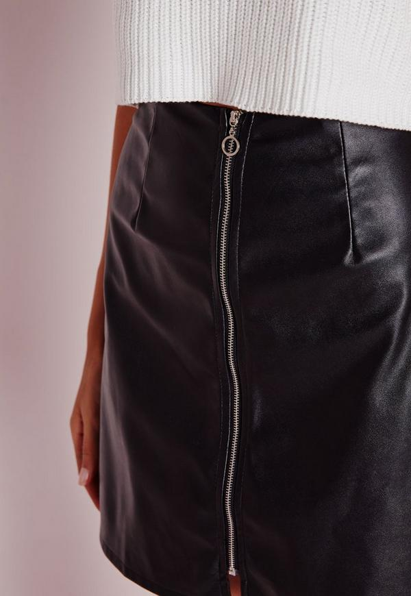 zip front faux leather a line skirt black missguided
