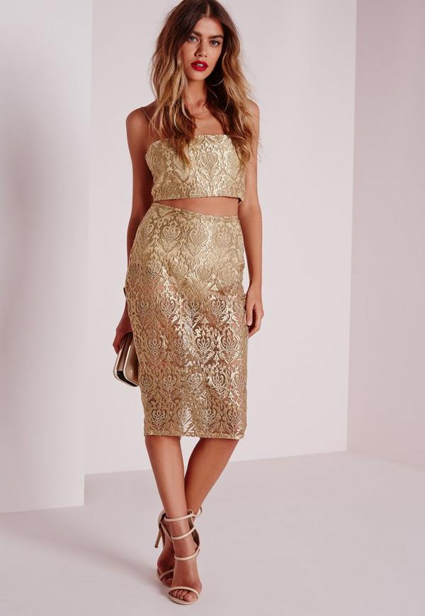 Brocade Organza Midi Skirt Gold