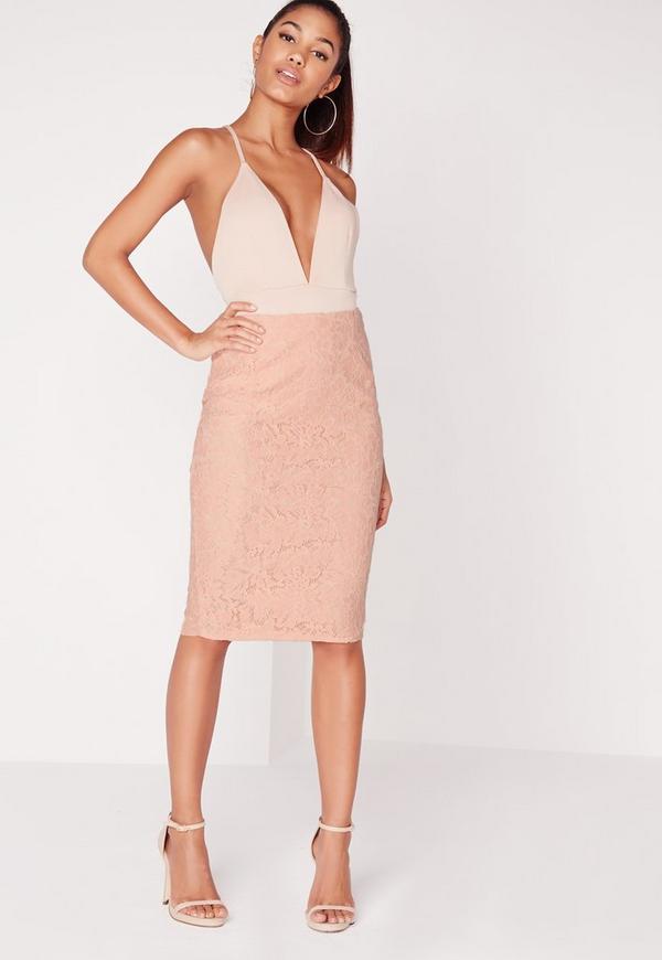 Split Back Lace Midi Skirt Blush