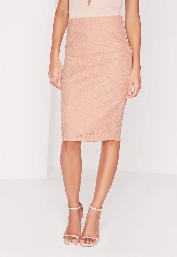 split back lace midi skirt blush missguided