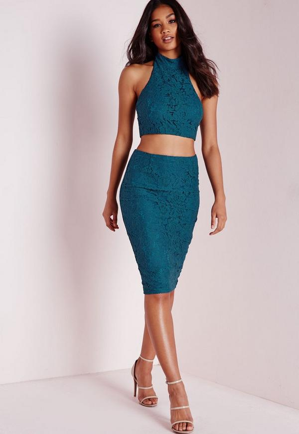 Split Back Lace Midi Skirt Teal