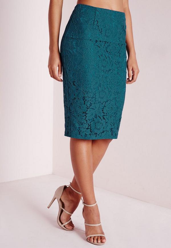split back lace midi skirt teal missguided