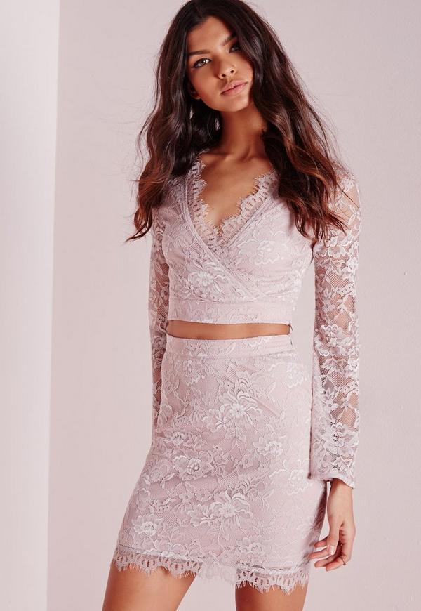 Bodycon Lace Mini Skirt Pink