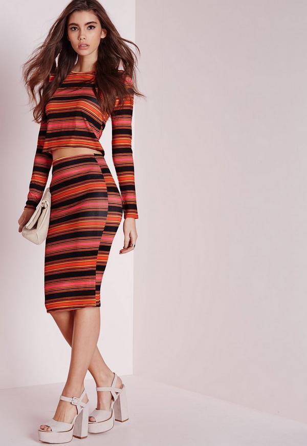 Multicolored Stripe Midi Skirt