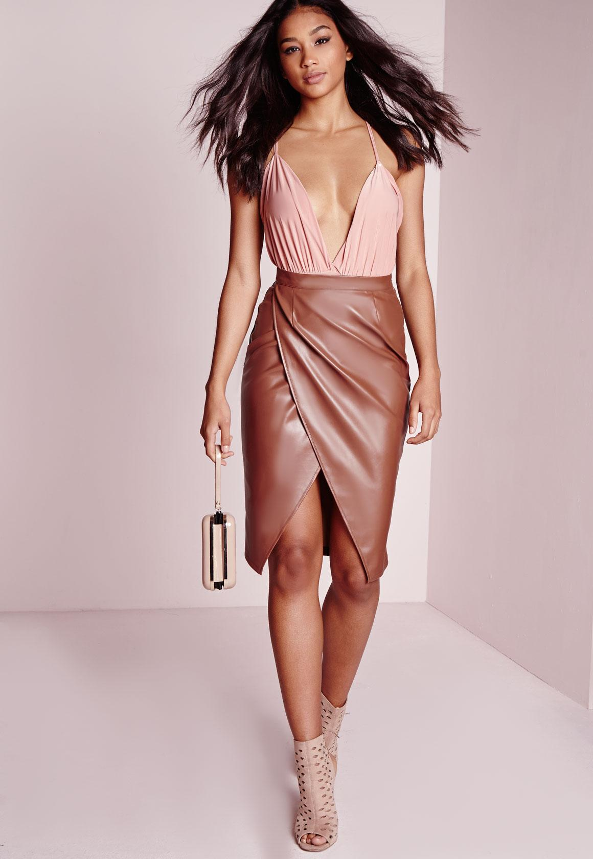 Faux Leather Wrap Midi Skirt Tan   Missguided