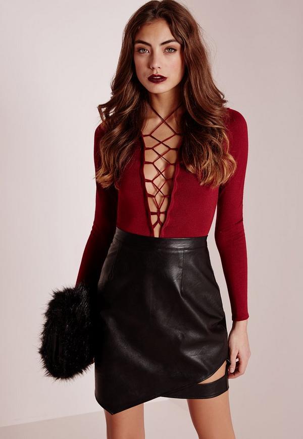 Cut Out Faux Leather Asymmetric Mini Skirt Black