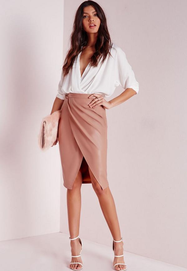 Faux Leather Wrap Midi Skirt Nude