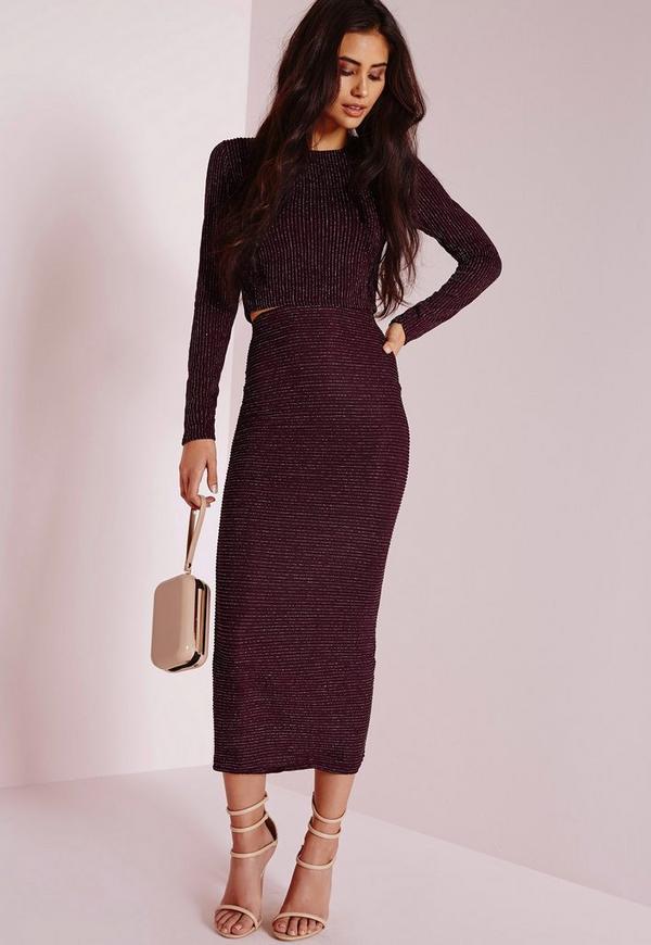 Lurex Stripe Longline Midi Skirt Purple