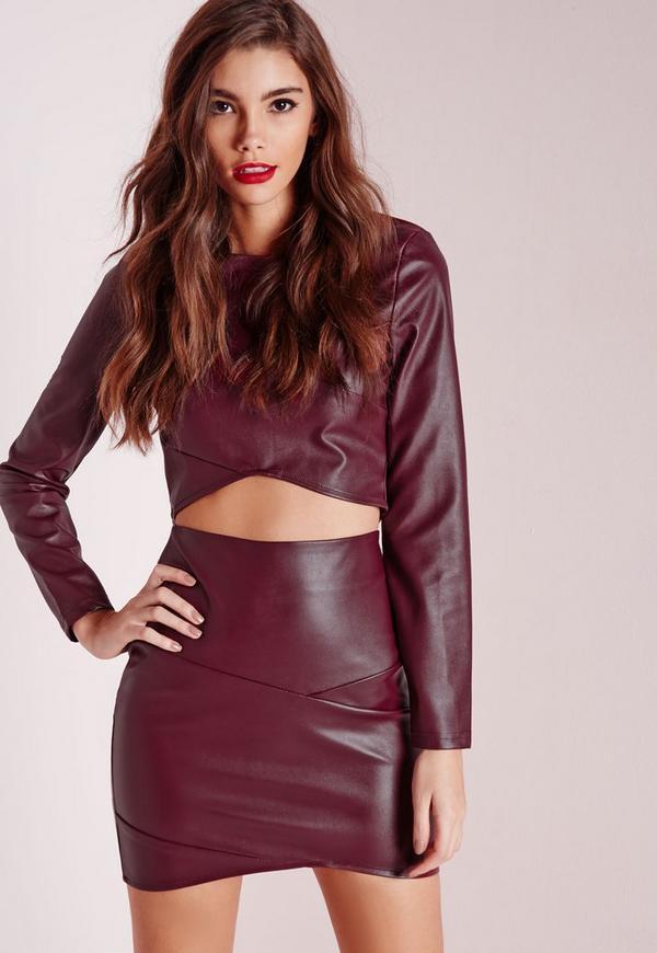 Faux Leather Asymmetric Mini Skirt Burgundy