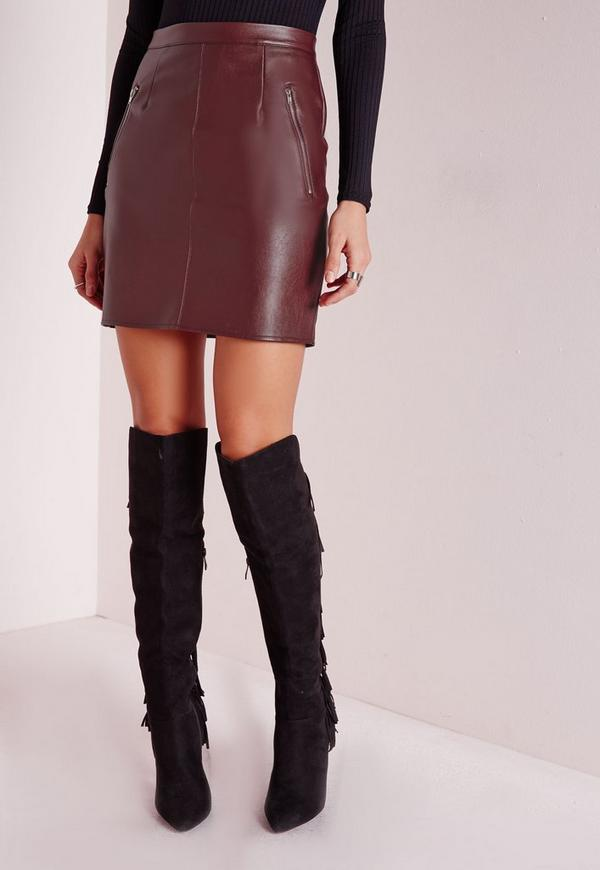 zip detail faux leather mini skirt burgundy missguided