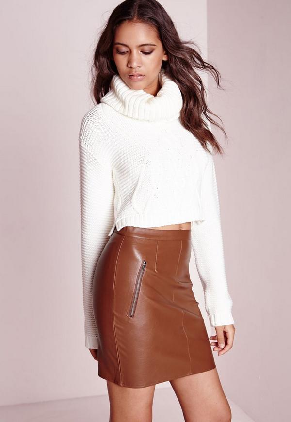 Zip Detail Faux Leather Mini Skirt Tan