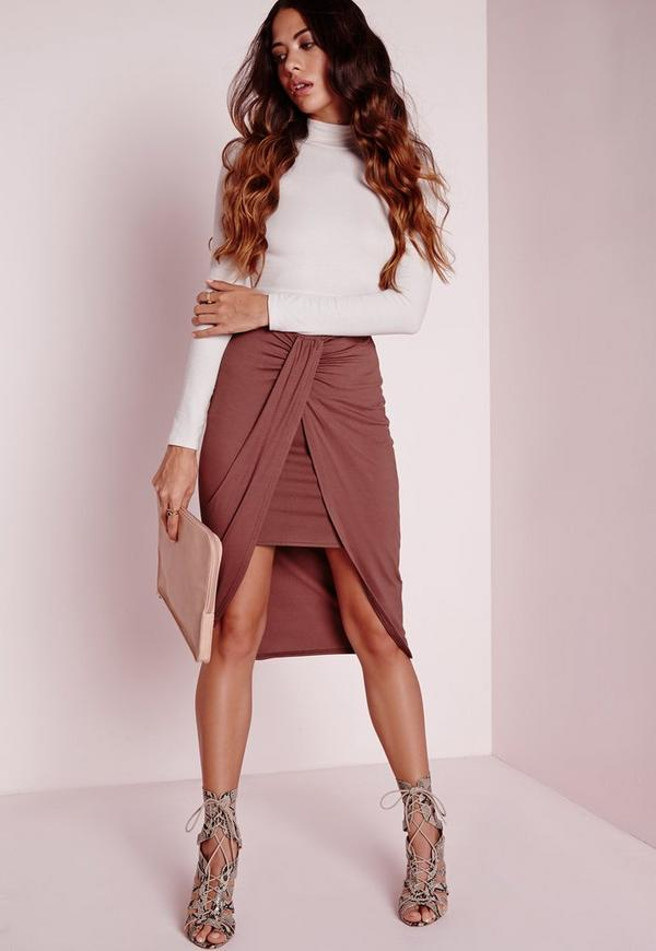 Wrap Jersey Midi Skirt Dark Rose