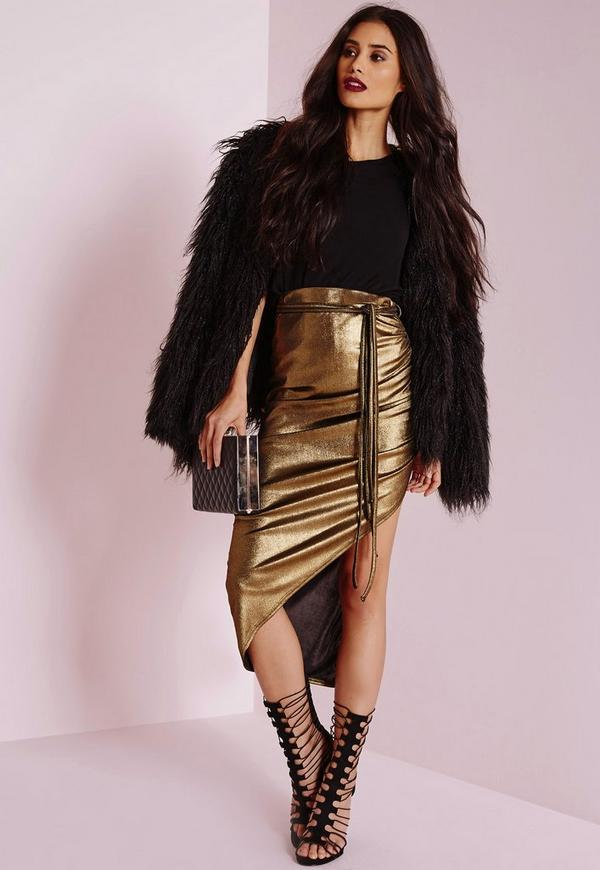 Foil Wrap Midi Skirt Gold