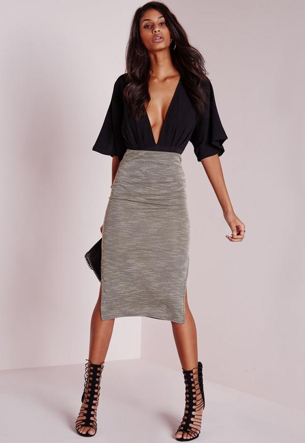 Ribbed Side Split Midi Skirt Grey