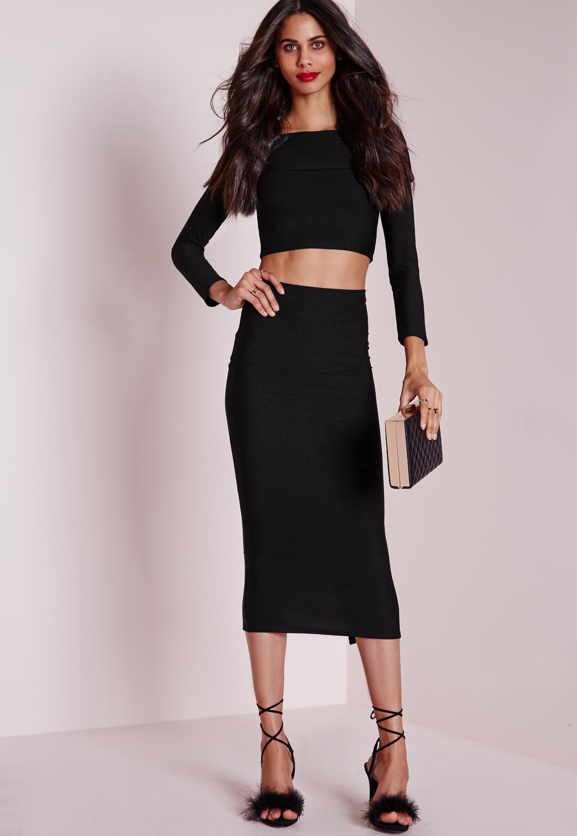 Longline Bandage Midi Skirt Black | Missguided