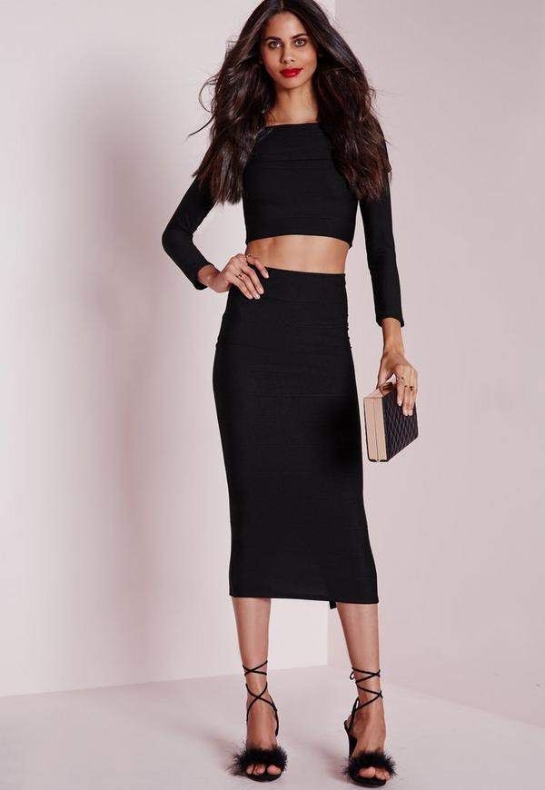Longline Bandage Midi Skirt Black