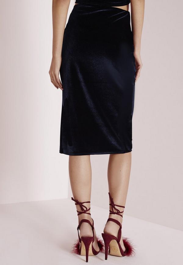 velvet wrap midi skirt navy missguided