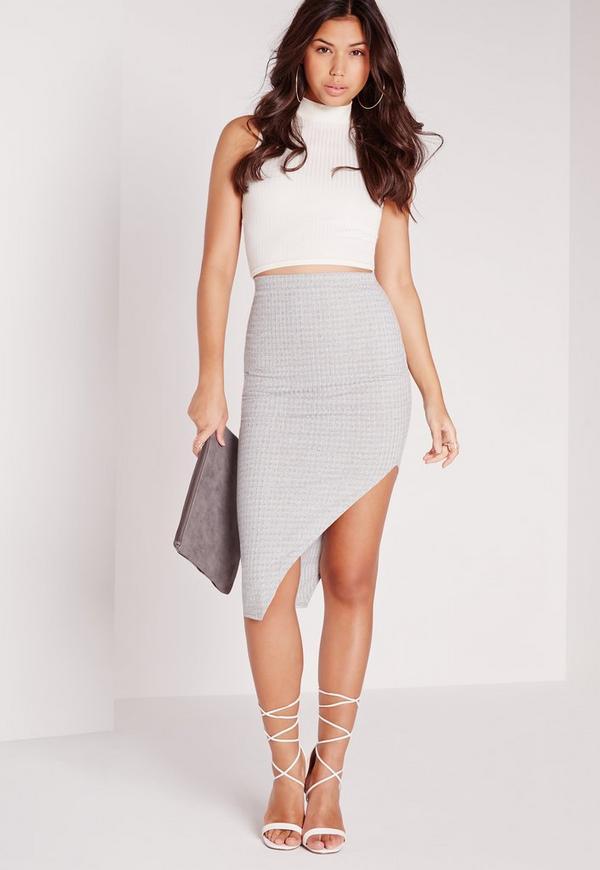 Ribbed Asymmetric Midi Skirt Grey