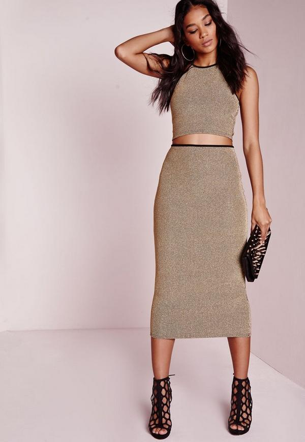 Metallic Ribbed Longline Midi Skirt Gold