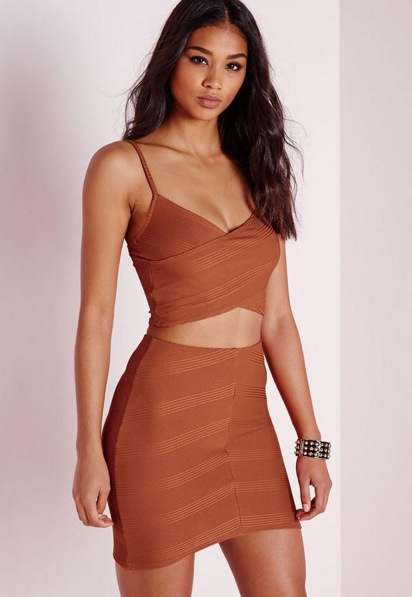 Bandage Asymmetric Mini Skirt Rust