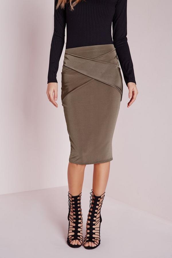 Wrap Front Detail Midi Skirt Brown Missguided Australia
