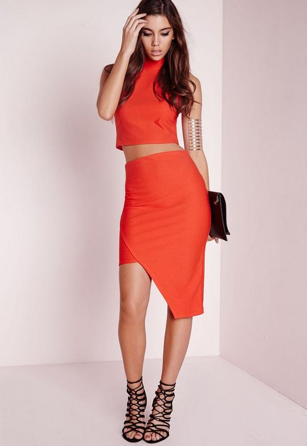 Asymmetric Midi Skirt Orange - Midi - Skirts - Missguided