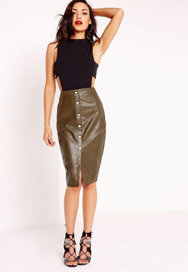 Button Front Faux Leather Midi Skirt Khaki