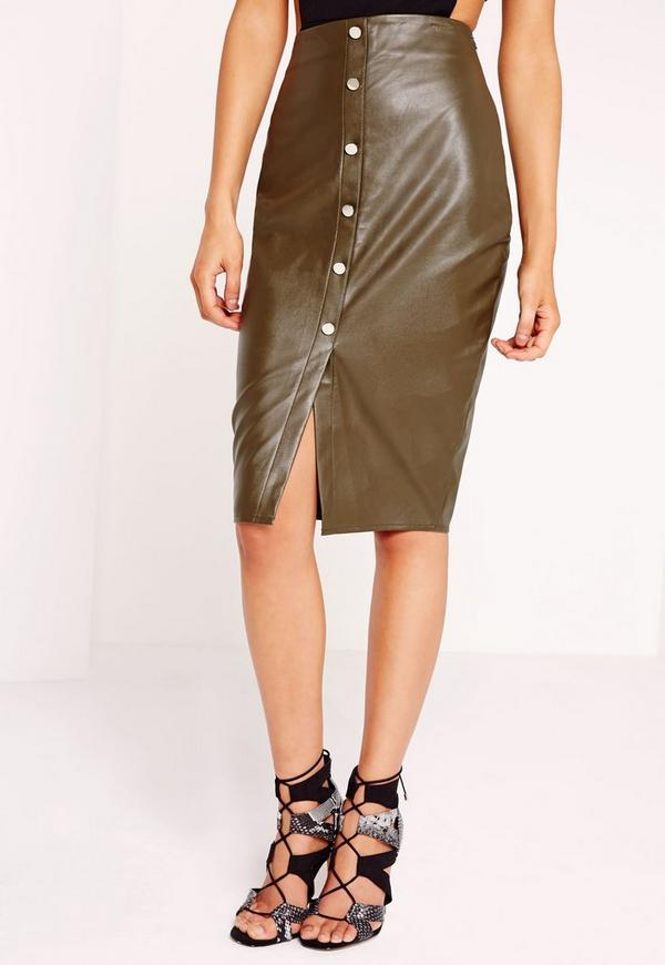 Button Front Faux Leather Midi Skirt Khaki | Missguided